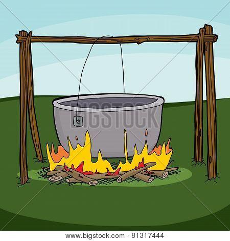 Large Empty Cauldron On Campfire