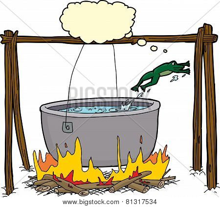 Smart Frog Escaping Cauldron