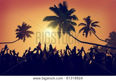 Adolescence Summer Beach Party Outdoors Community Estatic Concept
