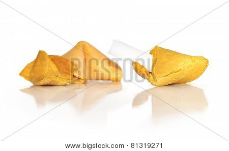 Fortune cookie broken open to reveal a message