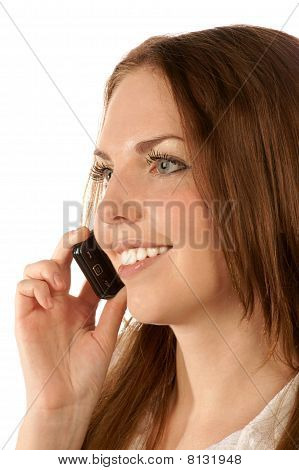 Portrait of young woman with mobile phone