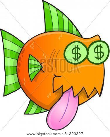 Money Hungry Fish Vector Illustration Art