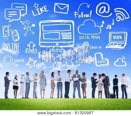 Multiethnic Group Business People Discussion Social Media Concept
