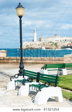 The castle of El Morro, a symbol of the city of Havana with a beautiful park