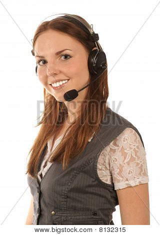 Smiling hotline operator on white background