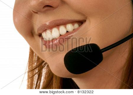 Close up portrait of call center operator