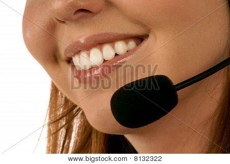 Close up portrait of call center operator