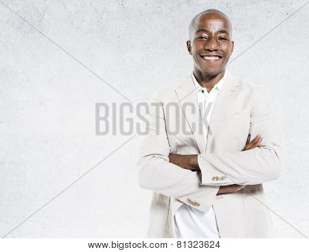 African Descent Portrait Concrete Wall Background Concept