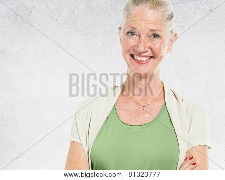 Blonde Lady Portrait Concrete Wall Background Concept