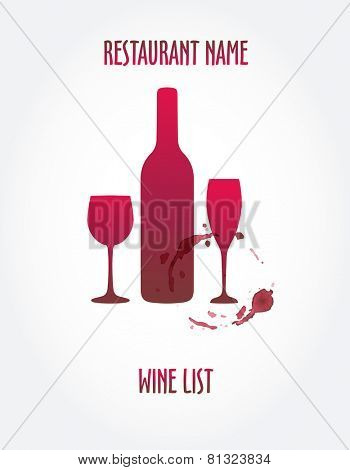 Wine list design templates with wine bottle, stain and glasses.