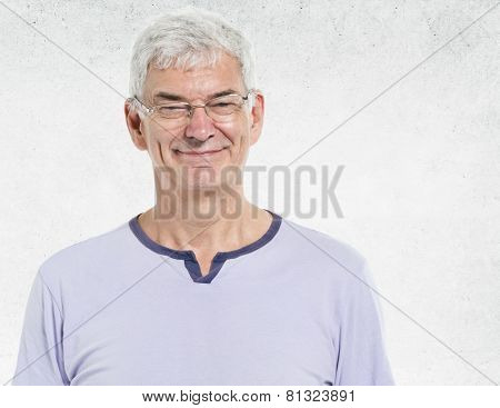 Old Man Portrait Concrete Wall Background Concept
