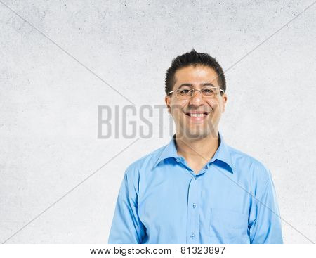 Middle Eastern Portrait Concrete Wall Background Concept