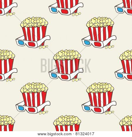 Seamless vector pattern with striped pop corn baskets and 3d glasses