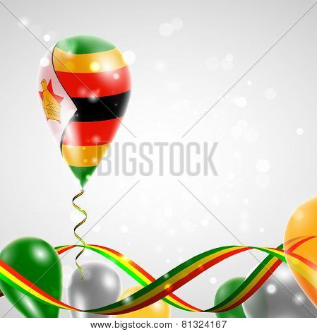 Flag of Zimbabwe on balloon