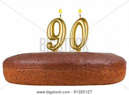 Birthday Cake Candles Number 90 Isolated