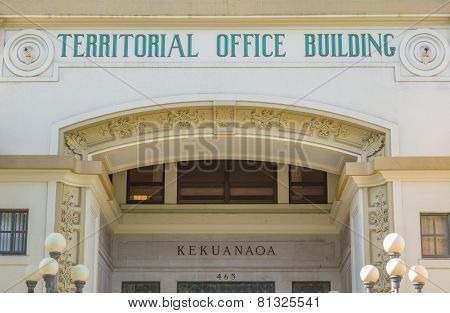 Hawaii Territorial Office Building Facade.