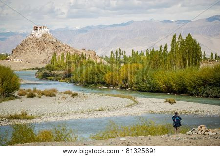 The scenic view of Stakna Monastery Ladakh ,India September 2014