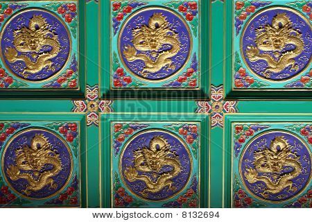 Dragon On Ceiling Of Chinese Temple