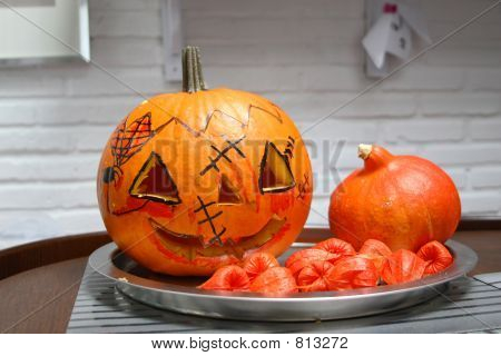Picture or Photo of Cut and decorated pumpkin for halloween