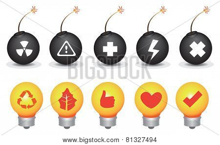 Bomb And Light Bulb Symbols Vector Icon Set