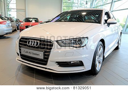 White Audi A3 Sedan On Display