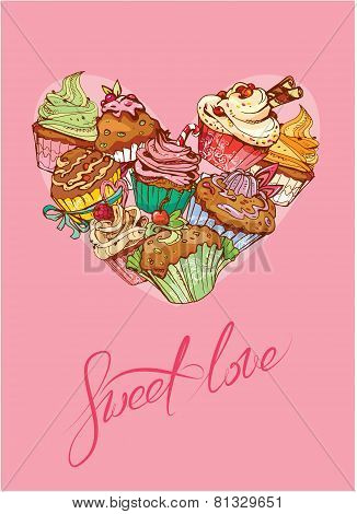 Holiday Card With Decorated Sweet Cupcakes In Heart Shape And Calligraphic Text Sweet Love - Valenti