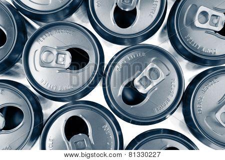 Open aluminum drink cans closeup