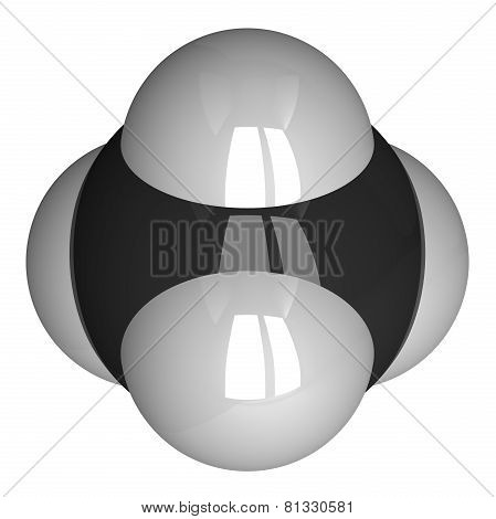 Methane Molecule Isolated On White