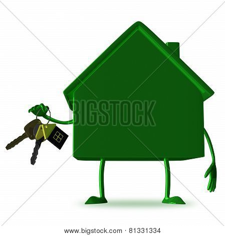 ?green Cottage With Bunch Of Keys