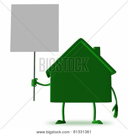 green Cottage With Blank Placard