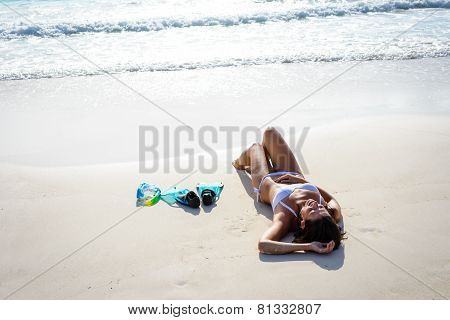 Woman Relax On Tropical Beach Vacation