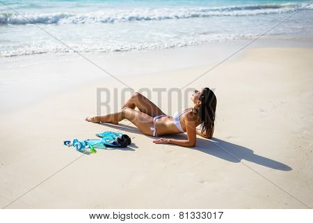 Woman Relaxing On Tropical Beach Vacation