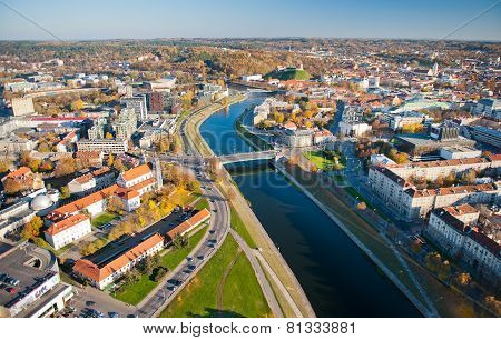 erial View of Vilnius Old Town and river Neris