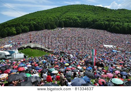 Catholic Pilgrims Celebrating The Pentecost In Szeklerland, Romania