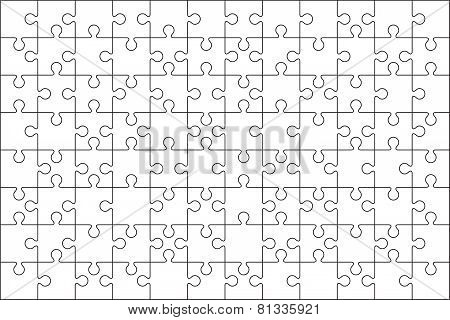 96 Jigsaw puzzle blank template or cutting guidelines.