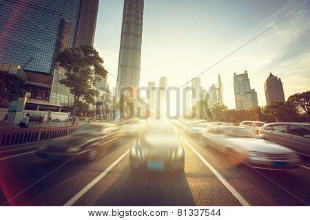road in shanghai lujiazui financial center
