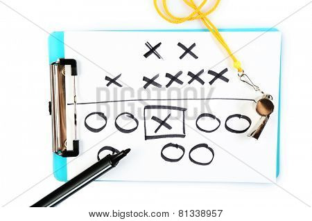 Clipboard with whistle and marker isolated on white