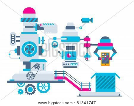 Industrial Illustration Background Of The Factory For Packing Phone.