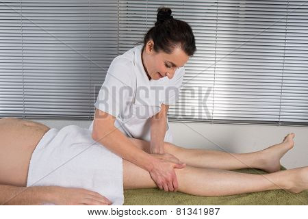 Man Is Getting A Massage On His Body