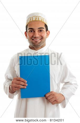 Smiling Arab Man With Brochure