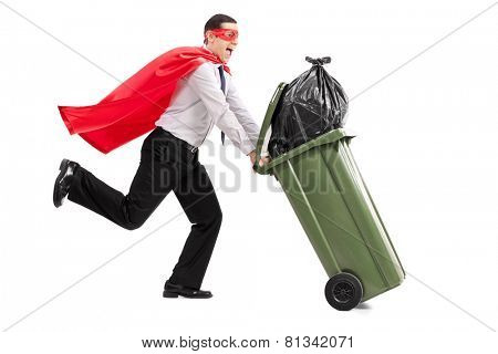 Superhero pushing a full trash can isolated on white background