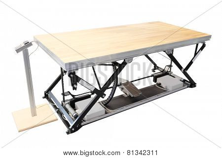 professional lift table in the atelier isolated under the white background