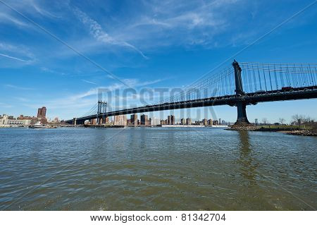 Manhattan Bridge and skyline view from Brooklyn in New York City