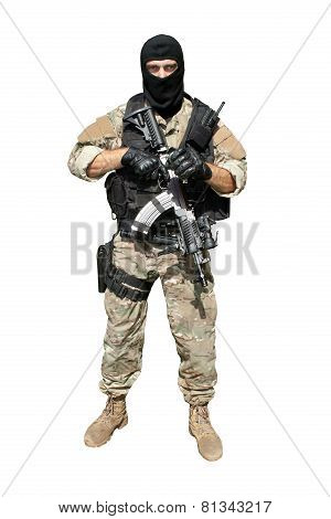 soldier special counterterrorism unit, isolated on white