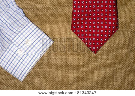 Tie And Shirt On The Old Sacking
