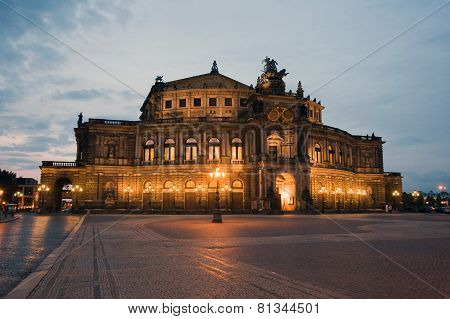 Semper Opera from outside by night in Dresden