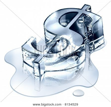 Crisis finance - the dollar symbol in melting ice - devaluated money - image symbolizing the bankrup