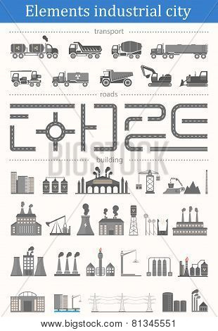 Vector Set Of Elements Industrial City - Buildings, Roads And Transport.