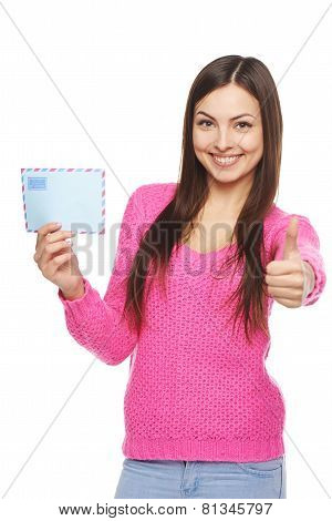 Happy woman with envelope