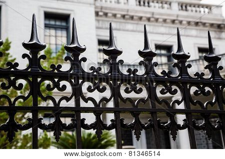 Spikes On Wrought Iron Fence